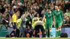 Shay Given was stretchered off during Ireland's 1-0 win over Germany and will miss Sunday's game against Poland. Photograph: PA