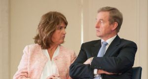 Taoiseach Enda Kenny and Tanaiste Joan Burton at the launch of local authority plans for the Ireland 2016 Centenary programme at the Irish Museum of Modern Art. Photograph: Dave Meehan/The Irish Times