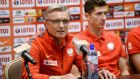 Polish head coach Adam Nawalka (L) and striker Robert Lewandowski (R)  Photograph: Bartlomiej Zborowski/EPA
