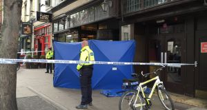 The man's body was discovered in the doorway of Starbucks café in the old Bewley's building by staff arriving to work. Photograph: Alan Betson/The Irish Times