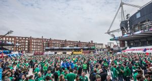 Cardiff is a sea of green before kick-off at the Millennium Stadium. Photograph: James Crombie