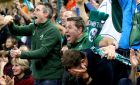 Fans celebrate as Conor Murray scores Ireland's second try. Photograph: James Crombie/INPHO