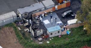 An aerial shot shows the extent of the damage at the halting site on Glenamuck Road, Carrickmines. Photograph: Tom Honan/Irish Mail on Sunday