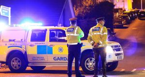 Gardaí in Omeath, Co Louth, where a garda was shot and killed by a man who later took his own life. Photograph: Nick Bradshaw