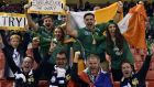 Irish and French fans  ahead of  the Pool D clash at  the Millennium Stadium in Cardiff. Photograph: Loic Venance/AFP
