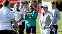Rory McIlroy with Luke Fitzgerald, Dave Kearney, Jonathan Sexton and Conor Murray. Photograph: Dan Sheridan/Inpho