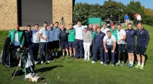 Rory McIlroy with some Irish players on Monday. Photograph: Dan Sheridan/Inpho