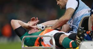 Ireland's Paul O'Connell is stretchered off at the Millennium Stadium, Cardiff. Photograph: David Davies/PA