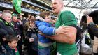 Ireland captain Paul O'Connell with his son Paddy  following the team defeat of  England in the RBS Six Nations match this year. Photograph: Eric Luke/The Irish Times