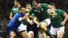 Ireland's lock Devin Toner vies with France's prop Nicolas Mas during the Pool D match of the 2015 Rugby World Cup. Photograph: Getty Images