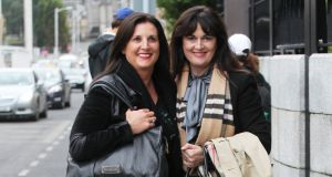 Michelle Rocca (right) with her sister, Laura at the High Court in Dublin. Photograph: Collins