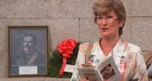 Aine Miller reads at the  Francis Ledwidge commemorative festival at Islandbridge in 1997. Ledwidge, a nationalist poet, was in Dublin during the very week of the Easter Rising, having recovered in England from serious injuries incurred while fighting in the British army in the first World War