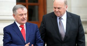 Minister for Finance Michael Noonan and Minister for Public Expenditure and Reform Brendan Howlin presenting Budget 2016 at Government Buildings. Photograph: Eric Luke / The Irish Times