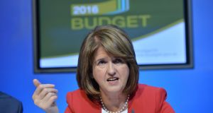 Tánaiste Joan Burton at a press conference on the 2016 Budget at Government Buildings. Photograph: Alan Betson/The Irish Times