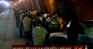 An image grab taken from footage broadcast on the Islamic Republic of Iran News Network (IRINN) from Wednesday, showing missile launchers in an underground tunnel at an unknown location in Iran. Photograph: AFP
