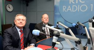 Minister for Finance Michael Noonan (right) and Minister for Public Expenditure Brendan Howlin answering listeners' questions on Today with Seán O'Rourke at RTÉ on Wednesday. Photograph: Eric Luke/The Irish Times.