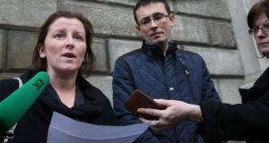Aoife and Raymond Manton, of Dualla Road, Cashel, Co Tipperary, speaking to the media outside the Four Courts on October 15th, 2015,  after they settled a High Court action on behalf of their daughter, Katie. Photograph: Collins Courts