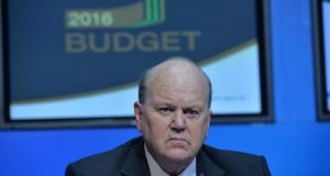 13/10/2015 - NEWS- Michael Noonan, Minister for Finance    at a press conference on the 2016 Budget at Government Buildings. Photograph: Alan Betson / The Irish Times