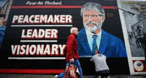 Solid support: a mural of Gerry Adams on the Falls Road in Belfast. Photograph: Jeff J Mitchell/Getty