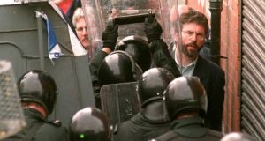Protest: Gerry Adams at a demonstration against an Orange parade in Belfast in 1996. Photograph: Alan Lewis/AFP/Getty