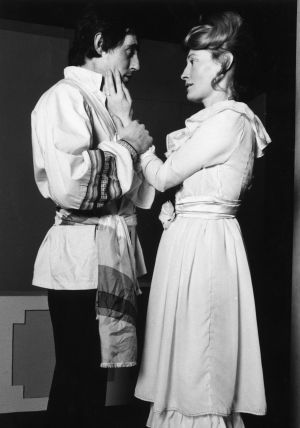 Gabriel Byrne and Joan Bergin in Ivan Turgenev's A Month in the Country in 1976, Photograph by Fergus Bourke from the book 'Five Decades in Focus : a photographic history of Ireland's Stanislavki theatre. The photo book clebrates work from 1963 to 2013 of what was Ireland's only art-house theatre, entertaining, challenging, and provoking audiences and critics alike.