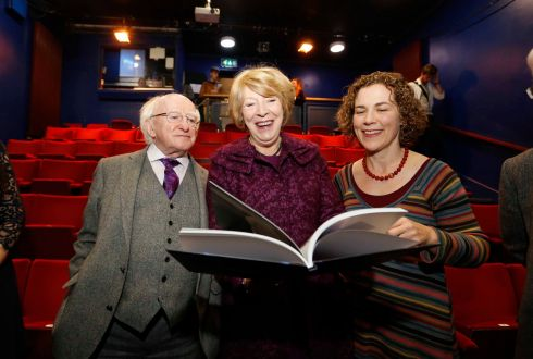 The President Michael D Higgins, his wife Sabina Higgins (who acted at the Focus Theatre) and photographer Kate Horgan at the launch of the book Five Decades in Focus: A Photographic History of Focus Theatre. Photograph: Sasko lazarov/Photocall ireland. The photo book is only available to order online at blurb.com at €44.25