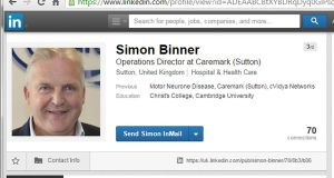 Screengrab  of the LinkedIn profile of Simon Binner, as the terminally ill company director suffering from Motor Neurone Disease (MND) appears to have used his LinkedIn profile to announce the date of his death and funeral before he takes his own life at a Swiss euthanasia clinic.