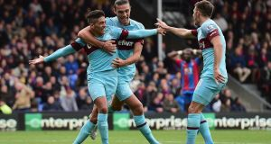 Manuel Lanzini's late goal helped West Ham sink 10-man Crystal palace. Photograph: Getty