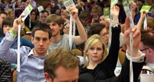 Delegates voting at a recent USI conference.  Photograph: Joe O'Shaughnessy/The Irish Times
