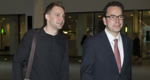 A file image of  Austrian Max Schrems (left) arriving with his lawyer Herwig Hofmann   at a  European Court of Justice (SCJ) in Luxembourg, earlier this month. Photograph: AFP
