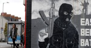 A paramilitary mural is seen on a wall in East Belfast in Northern Ireland this week.  Photograph: Cathal McNaughton/Reuters