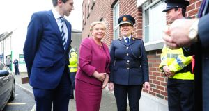 Minister of State Simon Harris, Minister for Justice Frances Fitzgerald and Garda Commissioner Nóirín O'Sullivan at Athlone Garda station on Wednesday where details of a Garda building and refurbishment programme were announced. Photograph: James Flynn/APX.