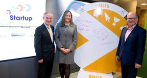 Minister for Jobs, Enterprise and Innovation Richard Bruton, Accenture FinTech Innovation Lab programme lead Sinéad Barry and Minister for Business and Employment Ged Nash