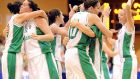 Ireland's players celebrate after defeating the  Netherlands in a European qualifier at the National Basketball Arena in Tallaght in August 2009