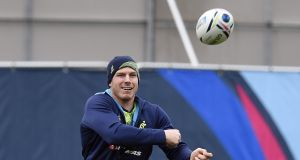 David Pocock returns from injury and will play at number eight for Australia in Sunday's World cup semi-final. Photograph:   Martin Bureau/AFP/Getty Images