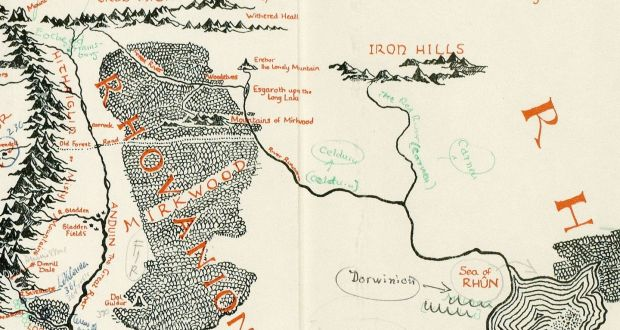 an annotated map of middle earth discovered in a copy of lord of the rings