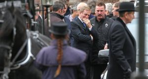 Taoiseach Enda Kenny at the funeral of Sylvia and Thomas Connors and their children Jim, Christy and Mary in  Wexford town. Photograph: Patrick Browne