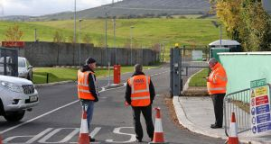 The entrance to the Dún Laoghaire-Rathdown Council Ballyogan depot car park, on the Ballyogan Road where a temporary halting site for the survivors of the Carrickmines fire is being set up. The survivors are expected to move in next Sunday. Photograph: Colin Keegan/Collins