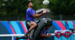 Julian Savea collects a high ball during an All Blacks training session: the player had to put in long hours to improve his aerial ability. Photograph: Phil Walter/Getty Images