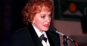Maureen O Hara pictured speaking at the 1998 Powers Irish Coffee Festival in Foynes.