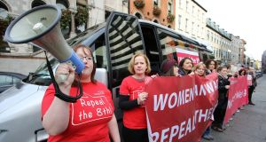 The abortion pill bus was promoting an online service providing access to medical terminations. Photograph: Nick Bradshaw