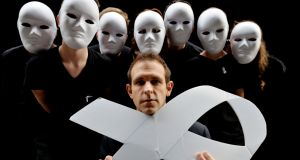 Members of Blakestown Community School in mime outfits with Tom Meagher, (husband of Jill Meagher who was murdered in Australia) a National White Ribbon Advocate, calling for an end to men's violence against women. Photograph: Alan Betson / The Irish Times