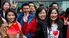 Chinese students: there are 2,700 Chinese students studying in Ireland.  Photograph: Richard Stonehouse/WPA Pool/Getty Images