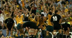 Australia celebrate on the fulltime whistle of their 2003 Rugby World Cup semi-final win over the All Blacks. Photograph: Getty