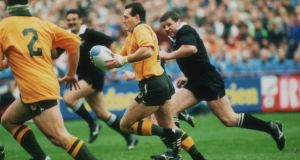 David Campese breaks for Australia during the 1991 Rugby World Cup semi-final. Australia beat New Zealand 16-6. Photograph: Getty