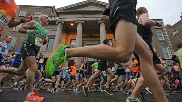 Athletes on Stephen's Green taking part in the Dublin Marathon. Photograph: Donall Farmer/Inpho