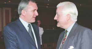 The then taoiseach Bertie Ahern talks to Peter Temple-Morirs at the 15th plenary session of the British-Irish Inter-Parliamentary Body in Cavan. Photograph: Alan Betson