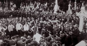 The funeral of O'Donovan Rossa at Glasnevin Cemetery on August 1st, 1915: Pádraig Pearse's speech propelled him into leadership of the IRB's Supreme Council