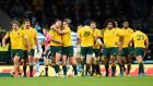 Like all Michael Cheika's teams, Australia were way too streetwise, together and opportunistic for Argentina. Photograph: Dylan Martinez/Reuters