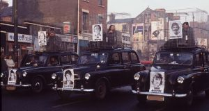 A hunger strike and dirty protest demonstration on the Falls Road, Belfast in 1980.